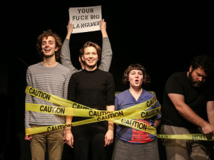 """Performing """"Watch Your Fucking Language,"""" with Tyler Butterfield, Amy Langer, Olivia Kingsley, and Steven Westdahl, December 2014. (Photo by C. Bernsohn)"""