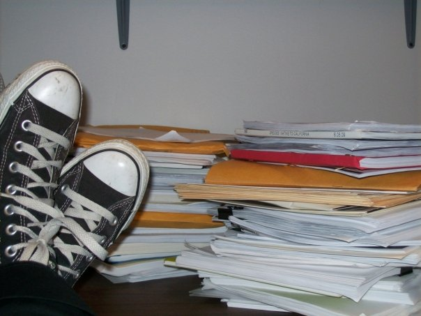 Actual shot of my desk during Script Submission season in a theatrical Literary department.