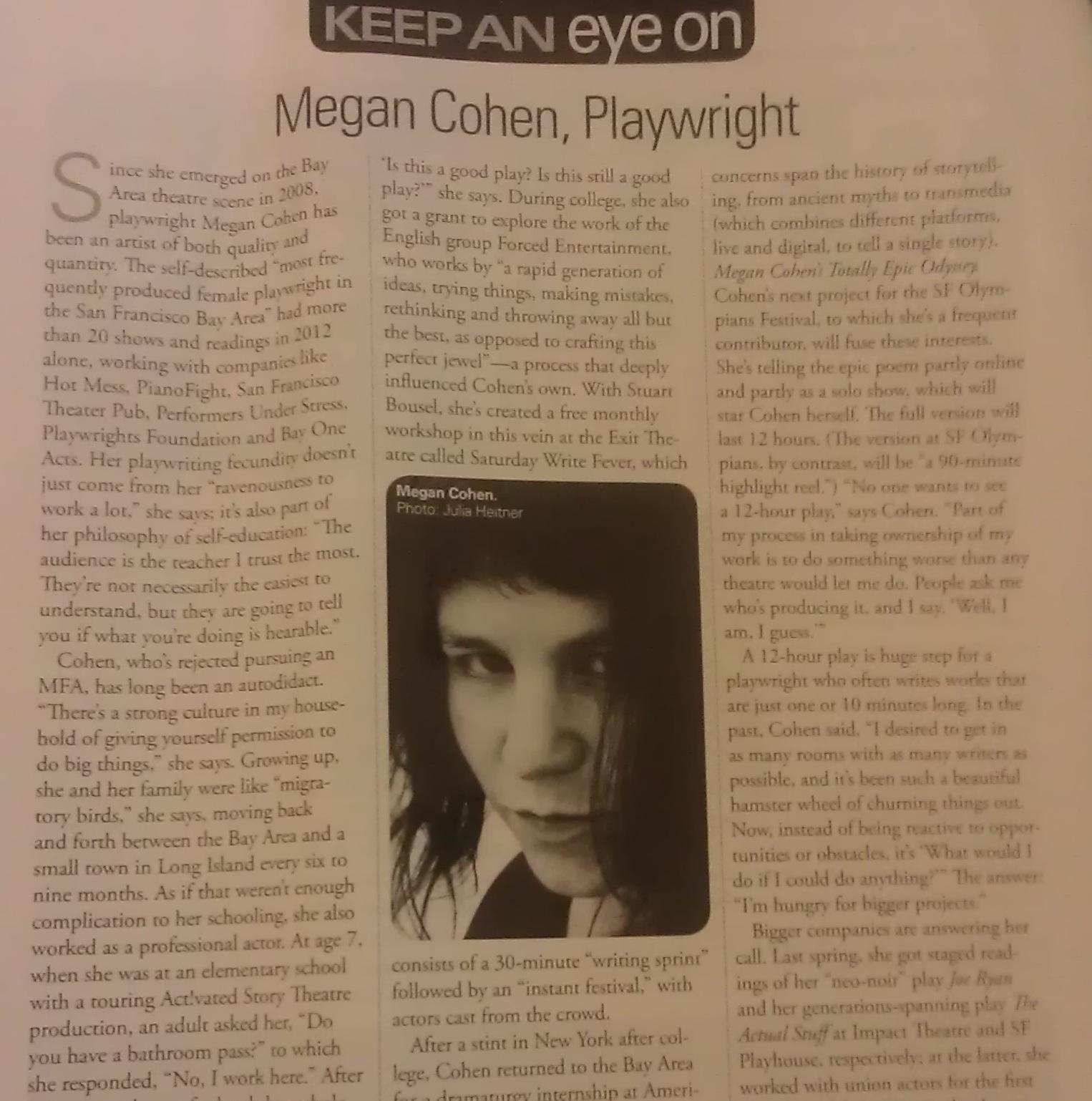 I'm Profiled in Theater Bay Area Magazine!