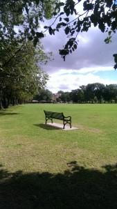"My favorite bench in Edinburgh, where I drafted ""Brigadoom."""