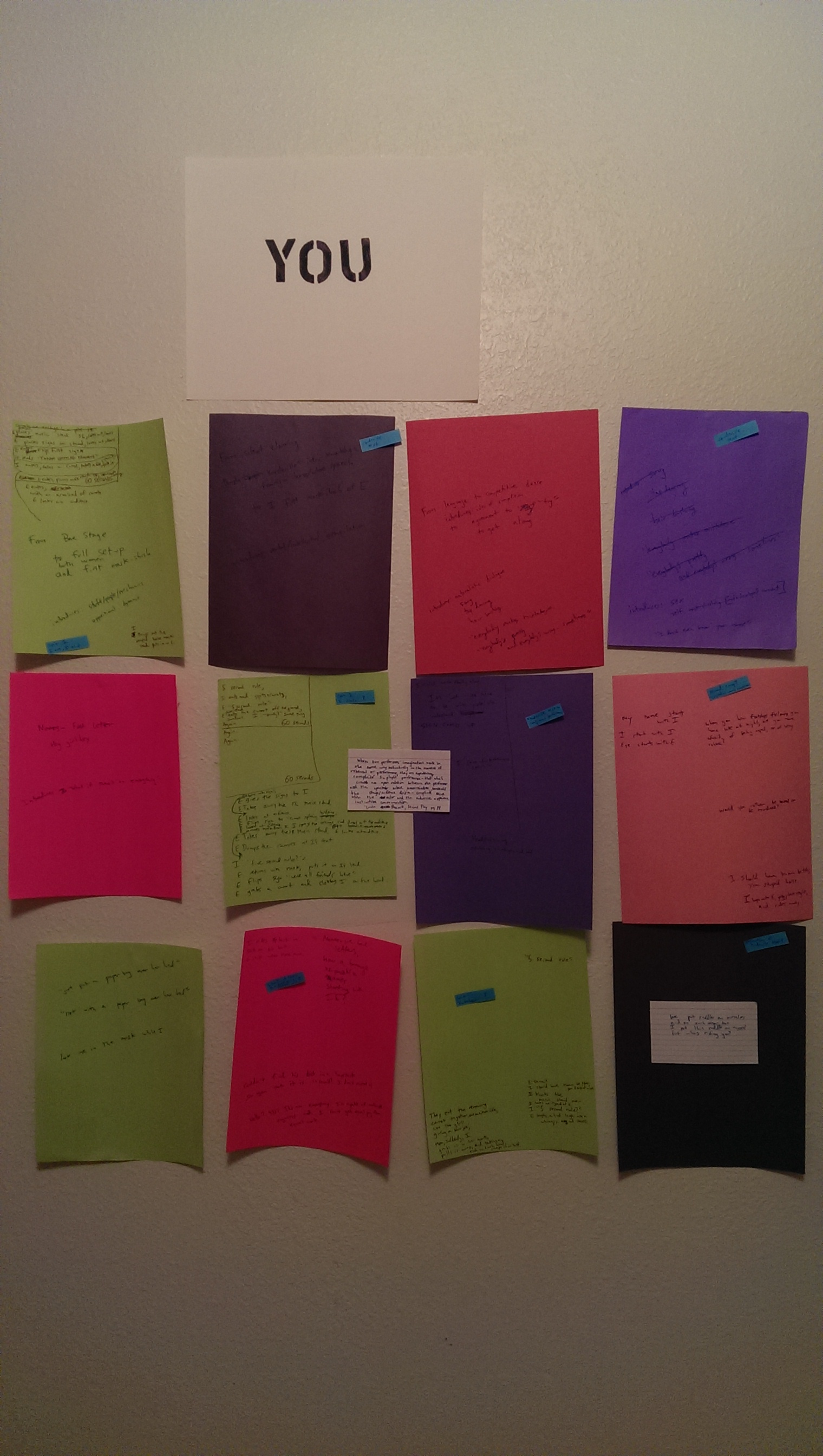 "This is my outline wall. The ""YOU"" sign lives at the top to remind me that nobody else is gonna write this thing."