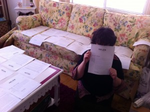 Amy snapped this photo of me when we were in the midst of laying out our text before the May 2013 workshop at DivaFest.